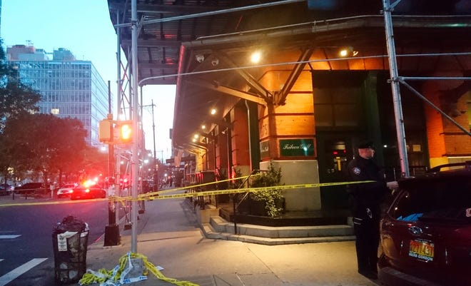 Police tape in New York's Tribeca neighborhood after reports of a suspicious package addressed to Robert DiNiro, Oct. 25, 2018.