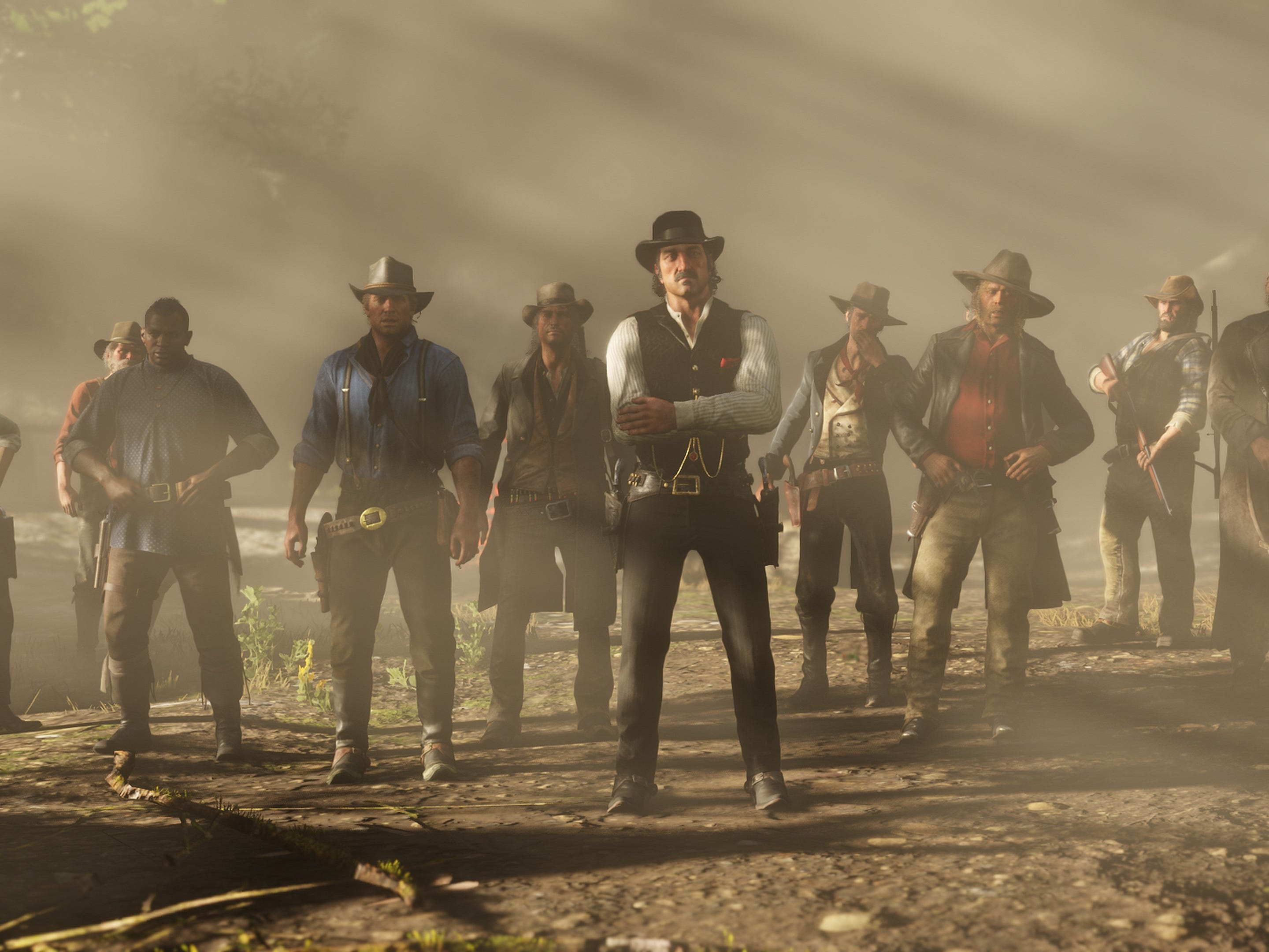 For more than twenty years, Dutch van der Linde, at center, has led the gang, which includes Arthur Morgan, fourth from the left. But as the events in 'Red Dead Redemption 2' unfold, the gang's past -- and America's future -- could lead to their downfall.