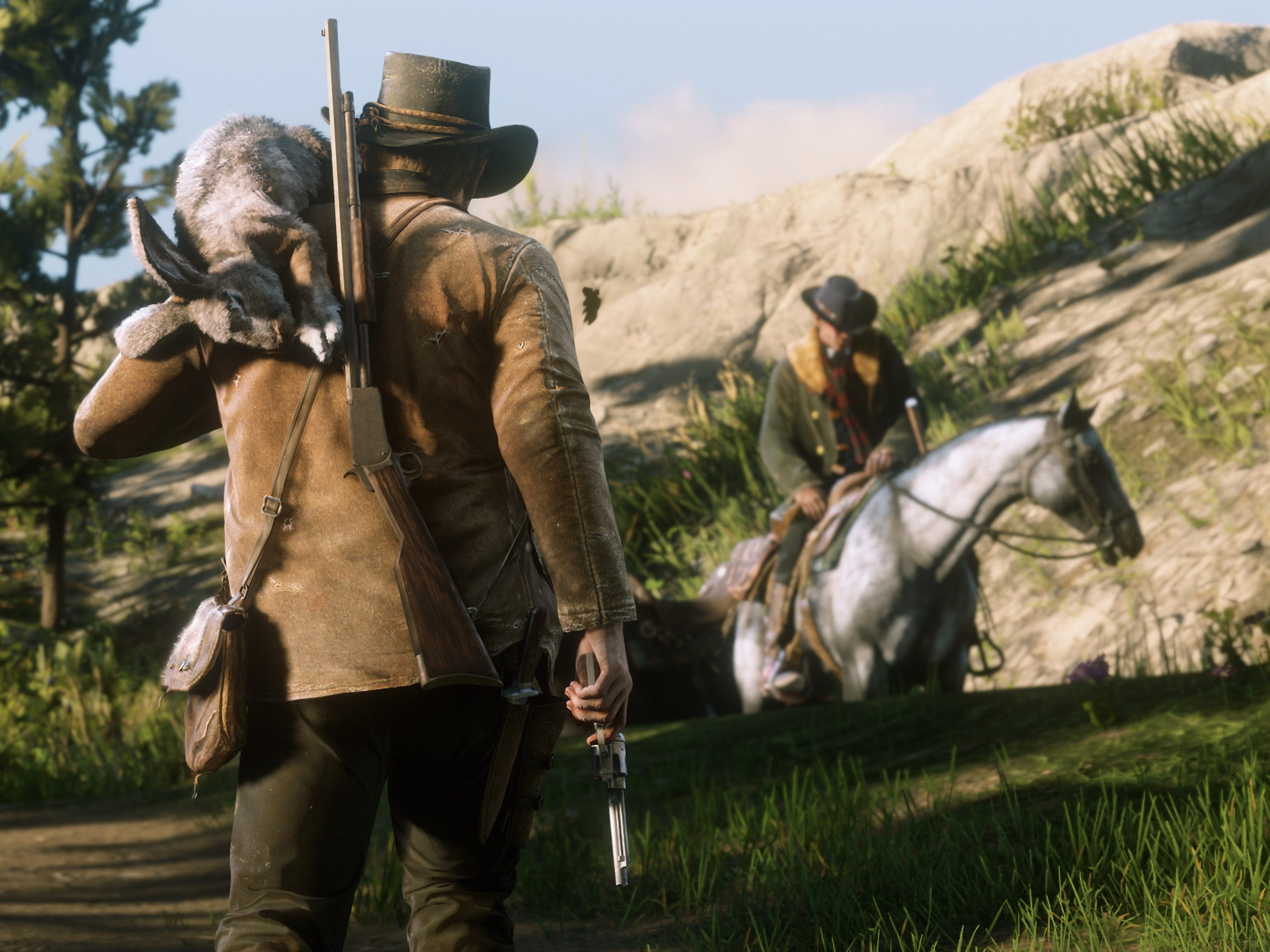 You can hunt wild game in 'Red Dead Redemption 2' and use your conquests to feed the gang and, with pelts, craft new items your character can use and wear.