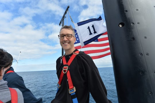 Director Donovan Marsh on the bridge of the USS Annapolis.