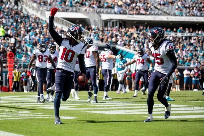 Texans wide receiver DeAndre Hopkins, left, had a receiving touchdown for the second consecutive week last Sunday at Jacksonville.