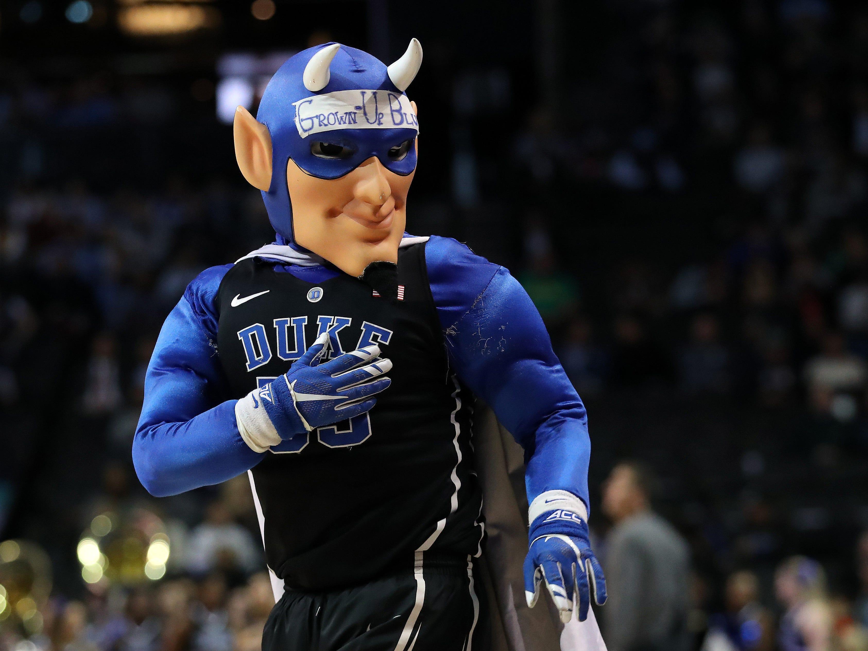 Duke's blue guy is somewhat fierce.