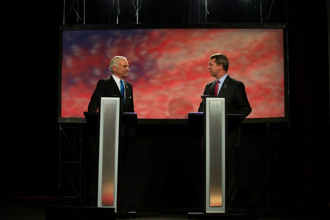 Republican Gov. Henry McMaster and Democratic state Rep. James Smith meet in a South Carolina governor debate on Thursday, October 25, 2018 at Greenville Technical College.
