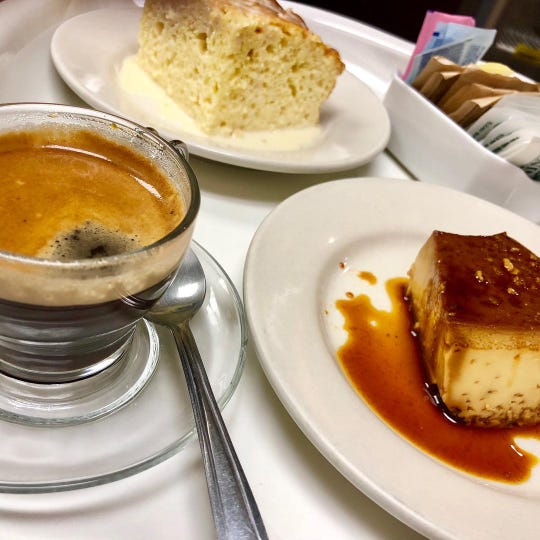 Flan, tres leches cake and espresso at Ada's Latin Flavor of Long Branch. The restaurant, now called Ada's Gojjo, has moved to Asbury Park.