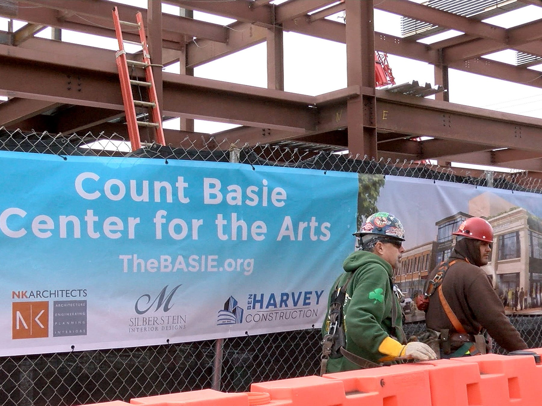 Workmen are shown outside the site of the Count Baise Theatre for the Arts in Red Bank Friday, October 26, 2018.   A new partnership was announced between the theatre and Hackensack Meridian Health.