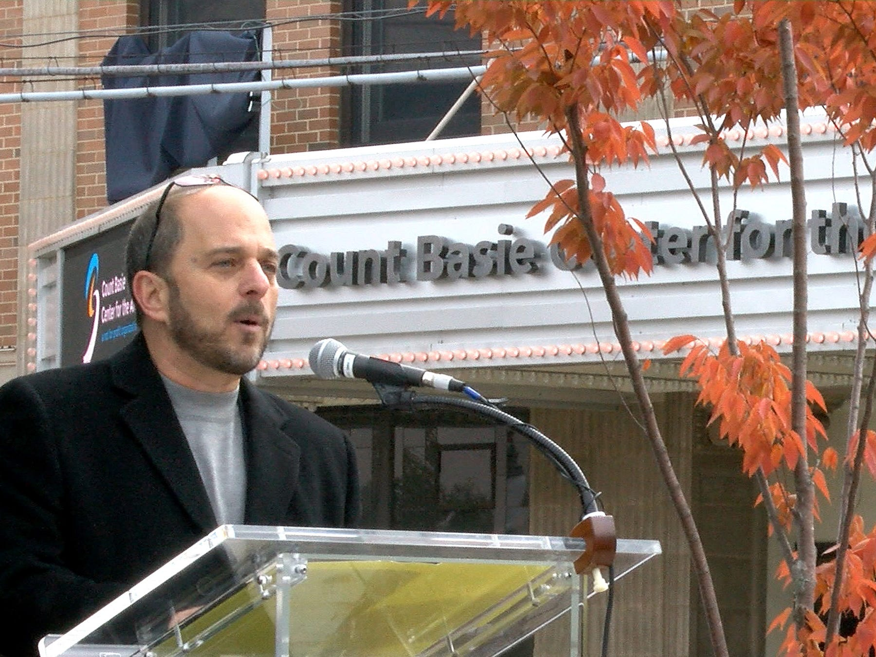 Count Baise Theatre for the Art CEO Adam Philipson speaks during the ceremony Friday, October 26, 2018, where a new partnership between the theatre and Hackensack Meridian Health was announced.
