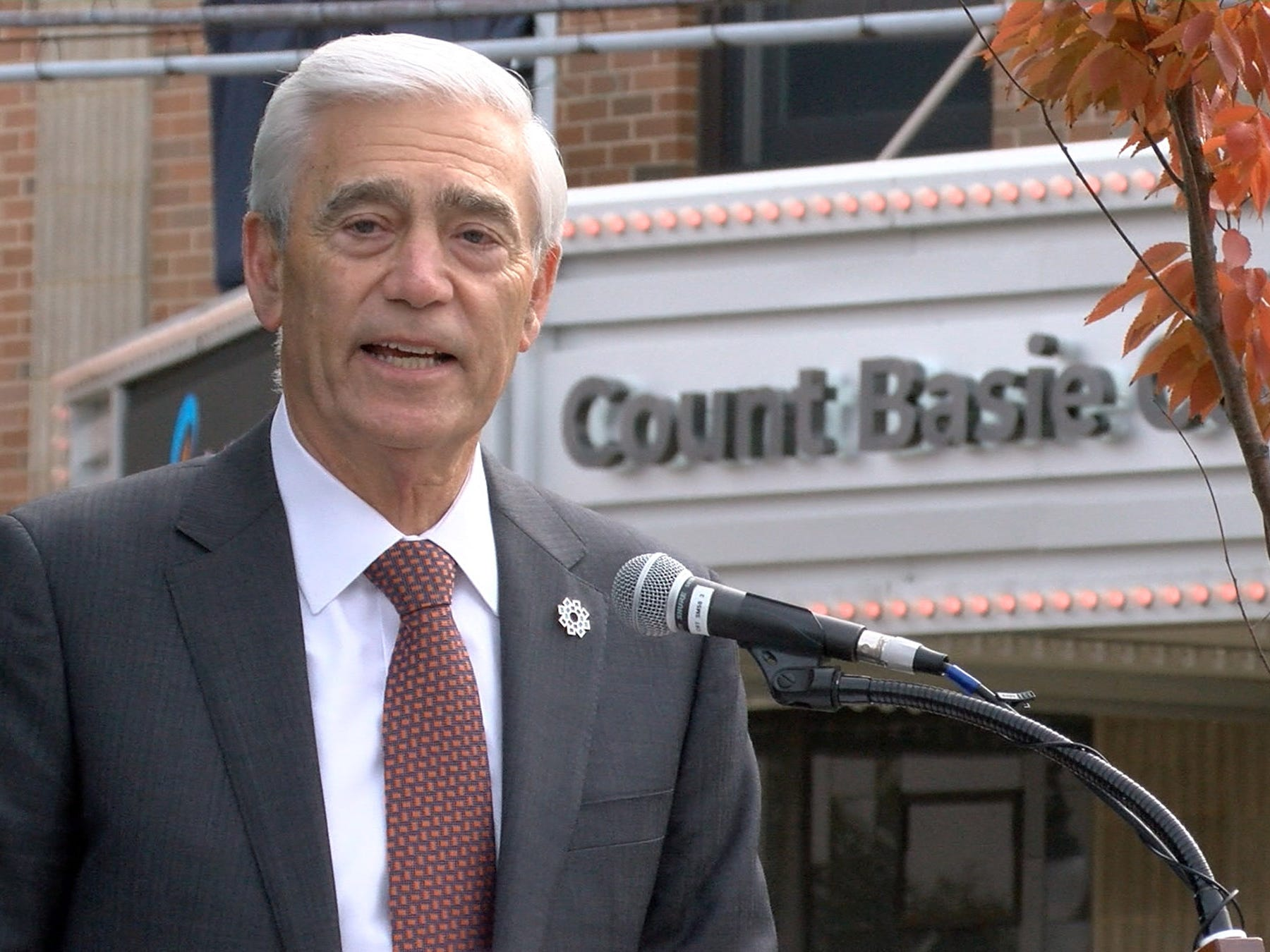 Hackensack Meridian Health Co-CEO John Lloyd speaks about the new partnership with the Count Baise Theatre for the Arts during a ceremony Friday, October 26, 2018, in Red Bank.