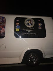 Cesar Sayoc's van in an Asheville apartment complex last year.