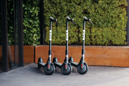 "A Bird ""nest."" The e-scooter company, which operates in some 50 cities across the country, recently dropped a fleet of the scooters, operated by smartphone app, in Asheville."