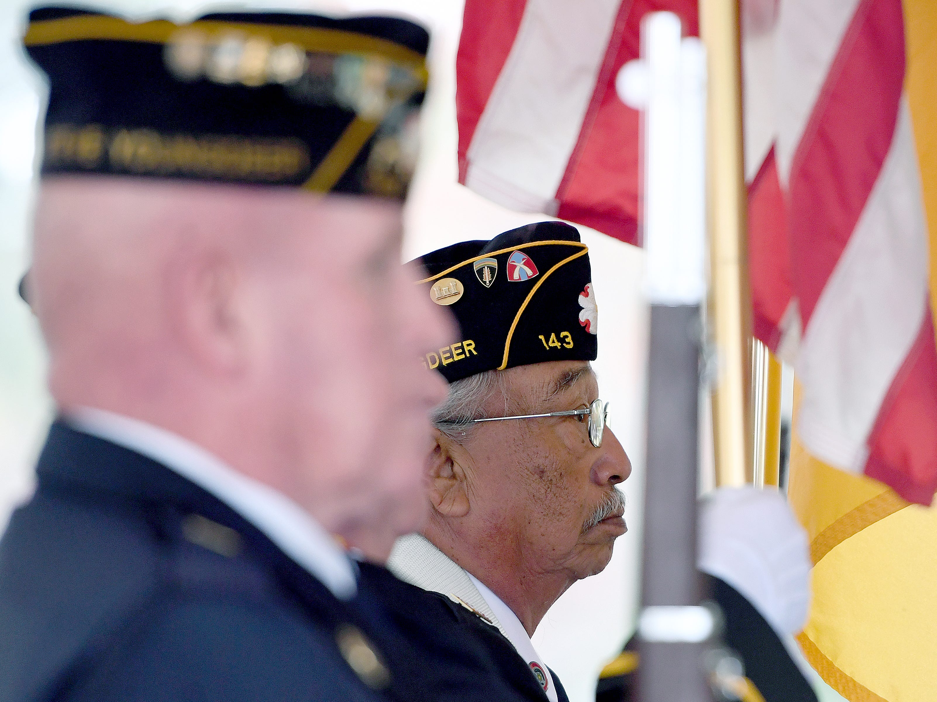 Members of the American Legion Steve Youngdeer Post 143 present the colors during a ceremony celebrating the opening of the Veterans Hope and Recovery Center on the campus of the Charles George VA Medical Center on Oct. 26, 2018.