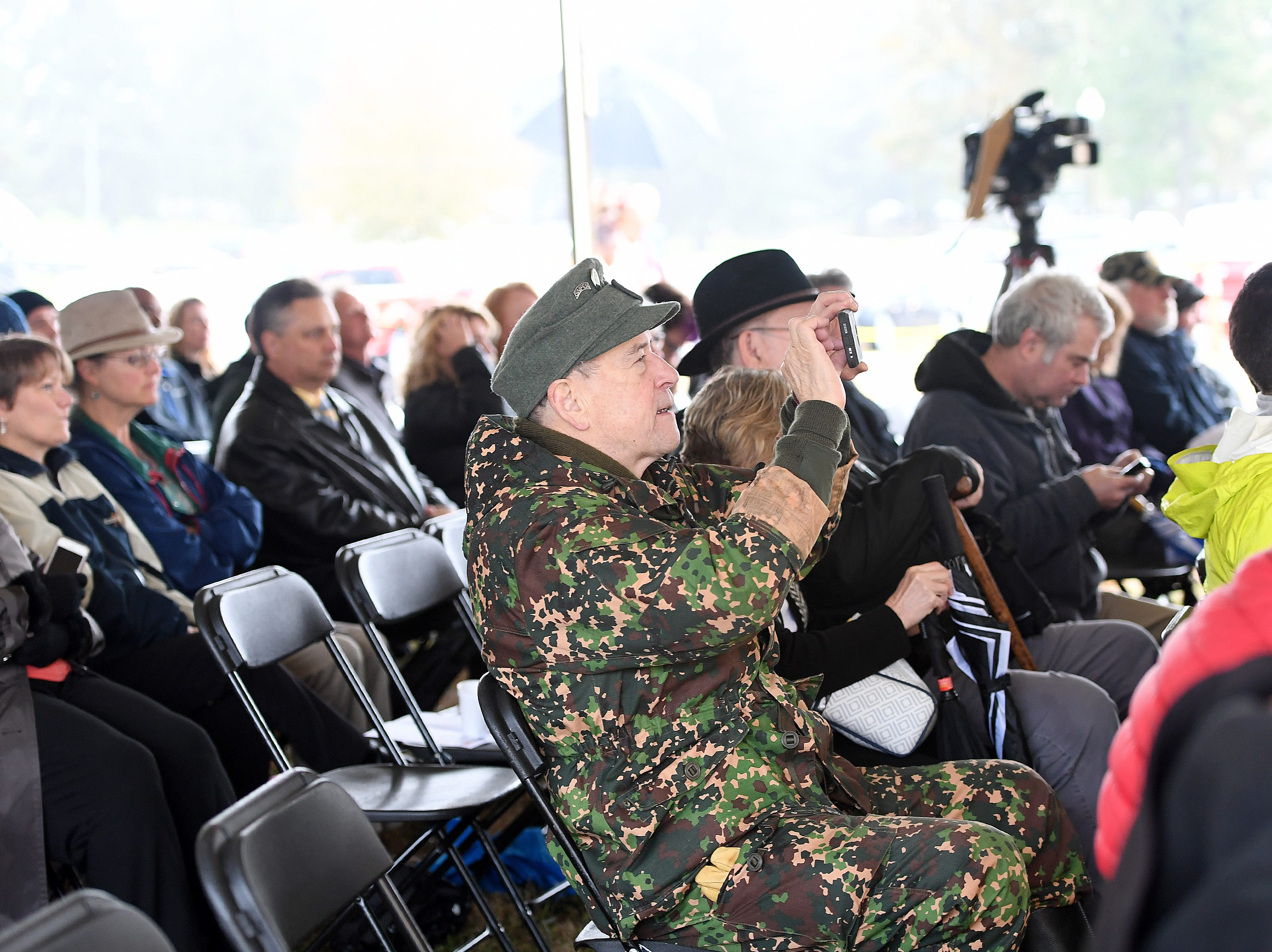 The crowd listens to remarks during a ceremony celebrating the opening of the Veterans Hope and Recovery Center on the campus of the Charles George VA Medical Center on Oct. 26, 2018.