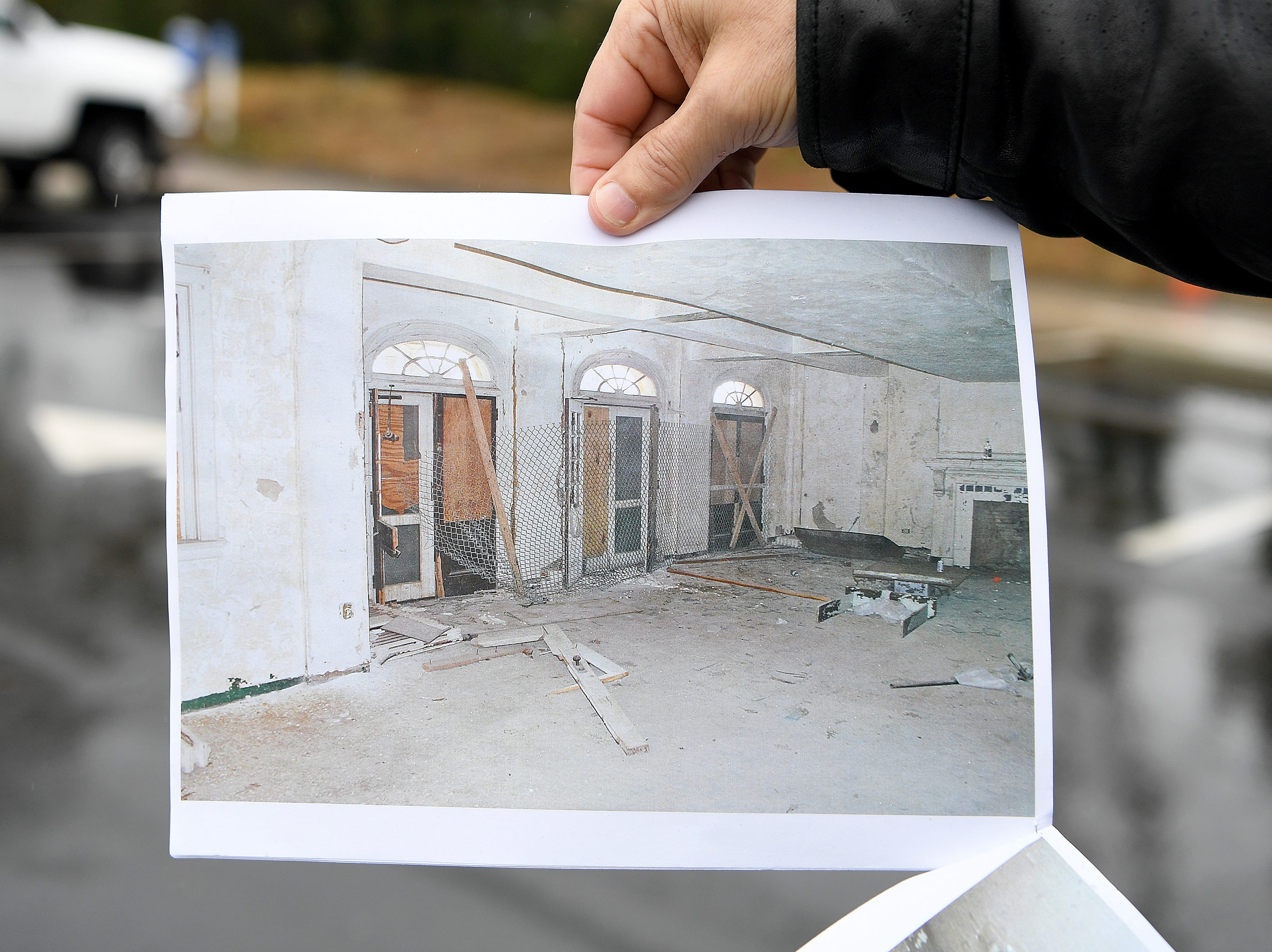 Photographs show the Veterans Hope and Recovery Center on the campus of the Charles George VA Medical Center before it was restored and reopened in a ceremony on Oct. 26, 2018. The building was originally opened in the 1930s as a dormitory for nurses working on the campus and was later condemned after falling into a state of disrepair.