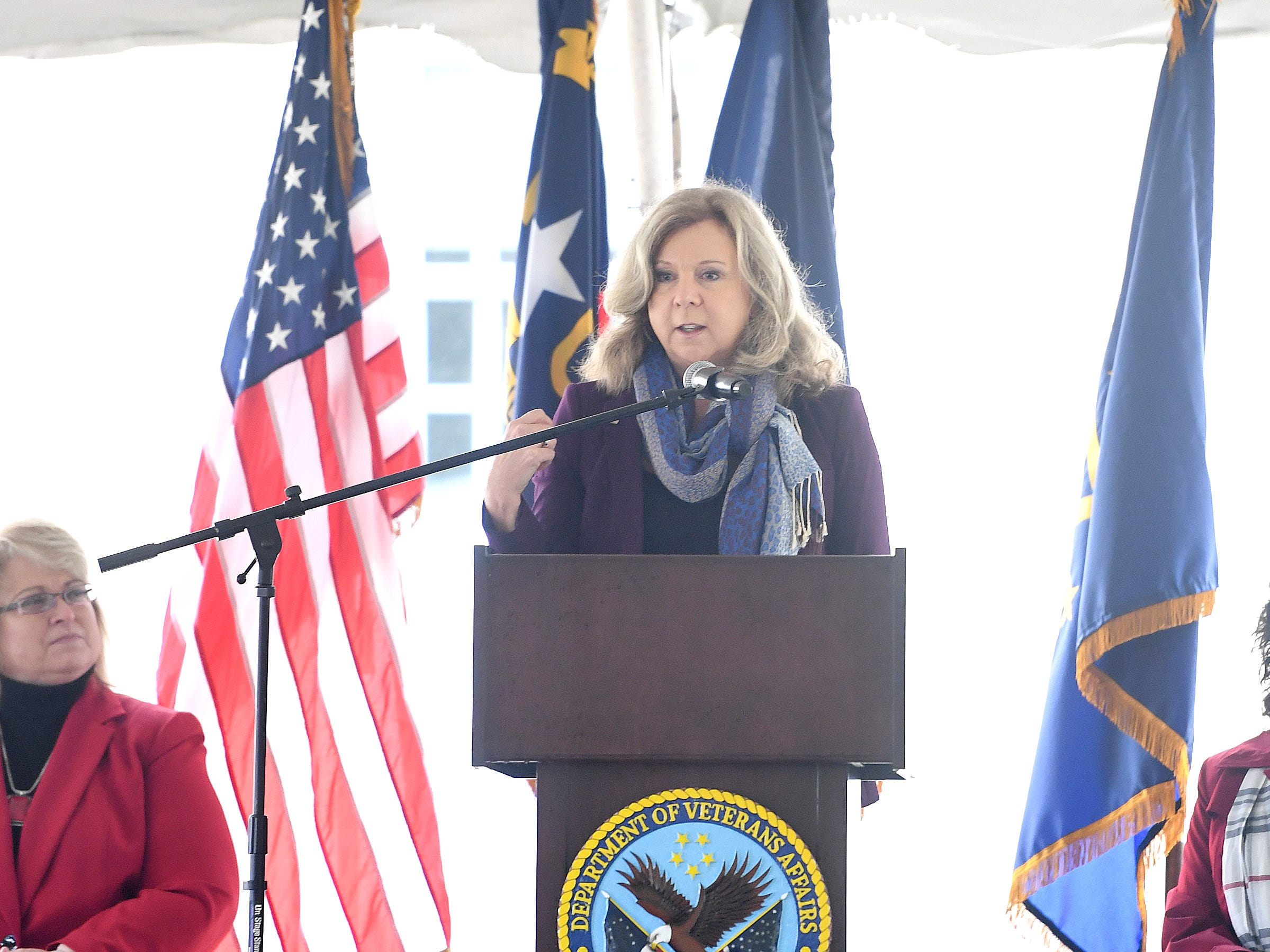 DeAnne Seekins, director of the VA Mid-Atlantic Healthcare Network, VISN 6, gives remarks during a ceremony celebrating the opening of the Veterans Hope and Recovery Center on the campus of the Charles George VA Medical Center on Oct. 26, 2018.