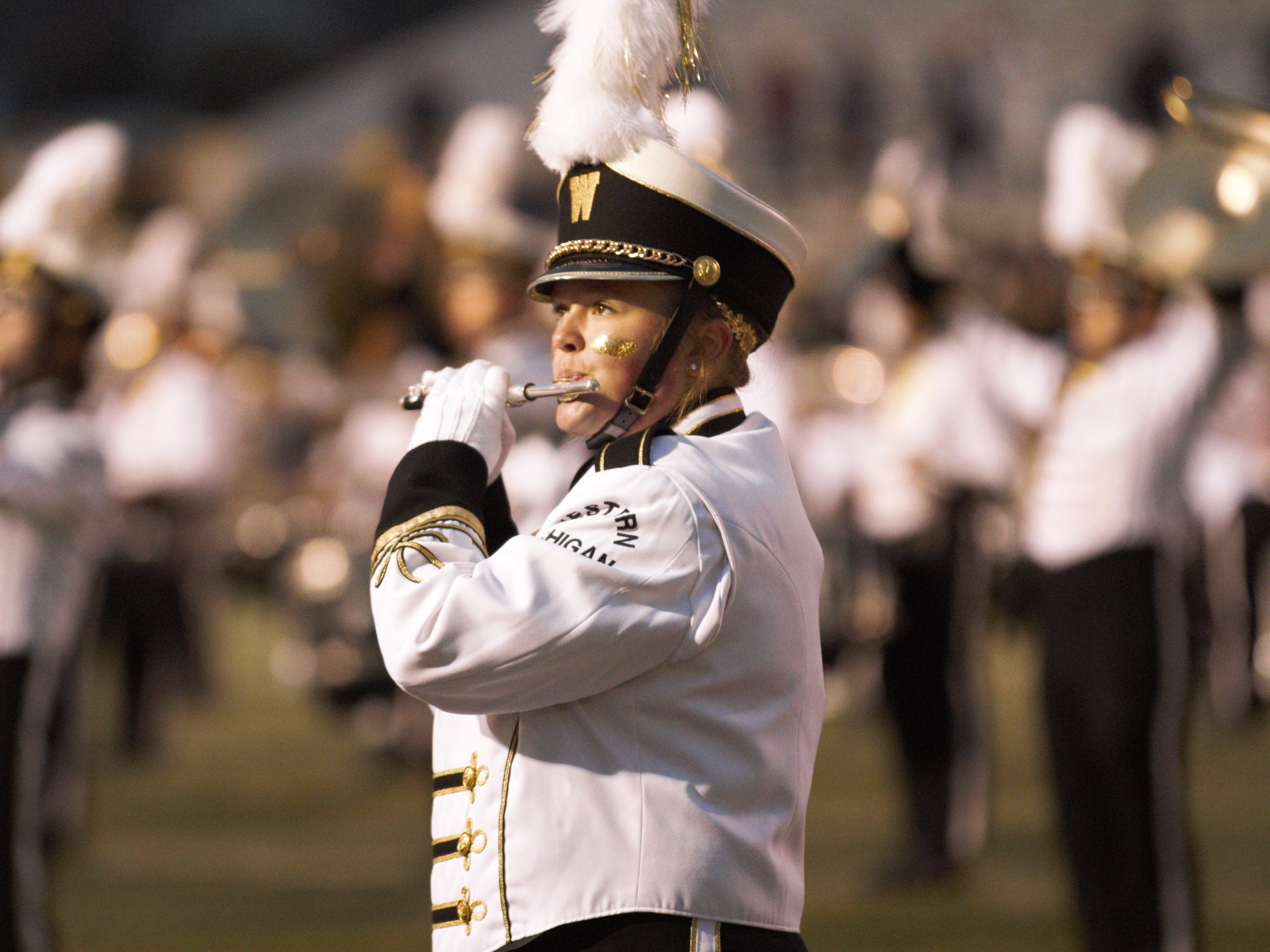 A Western Michigan University band member plays before Western Michigan and Toledo played on Thursday, October 25, 2018.