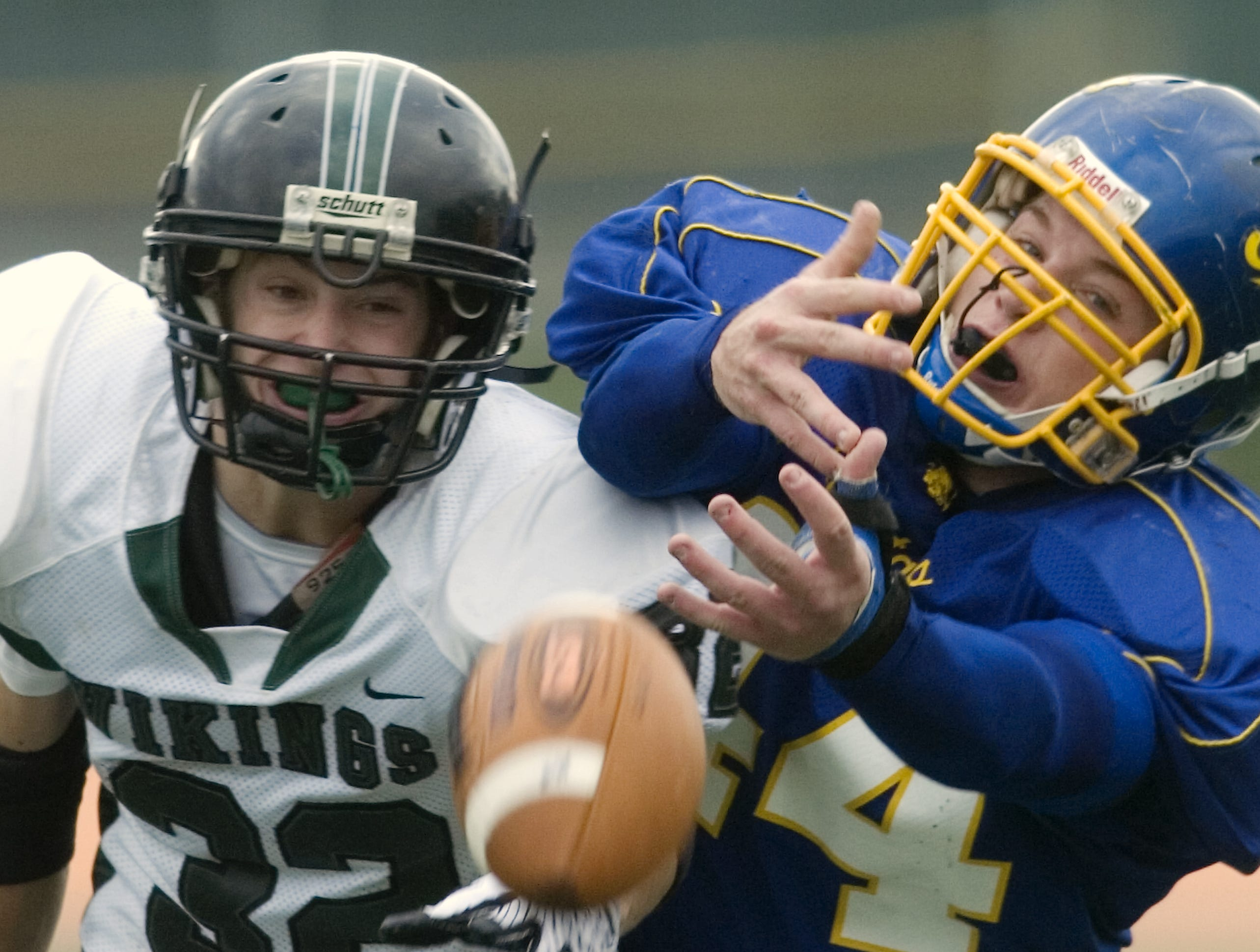 Maine-Endwell's Nate Reynolds, right,could not complete the reception as Corning West's Gregory Riff defends in the second quarter of a 2008 game at Ty Cobb Stadium.