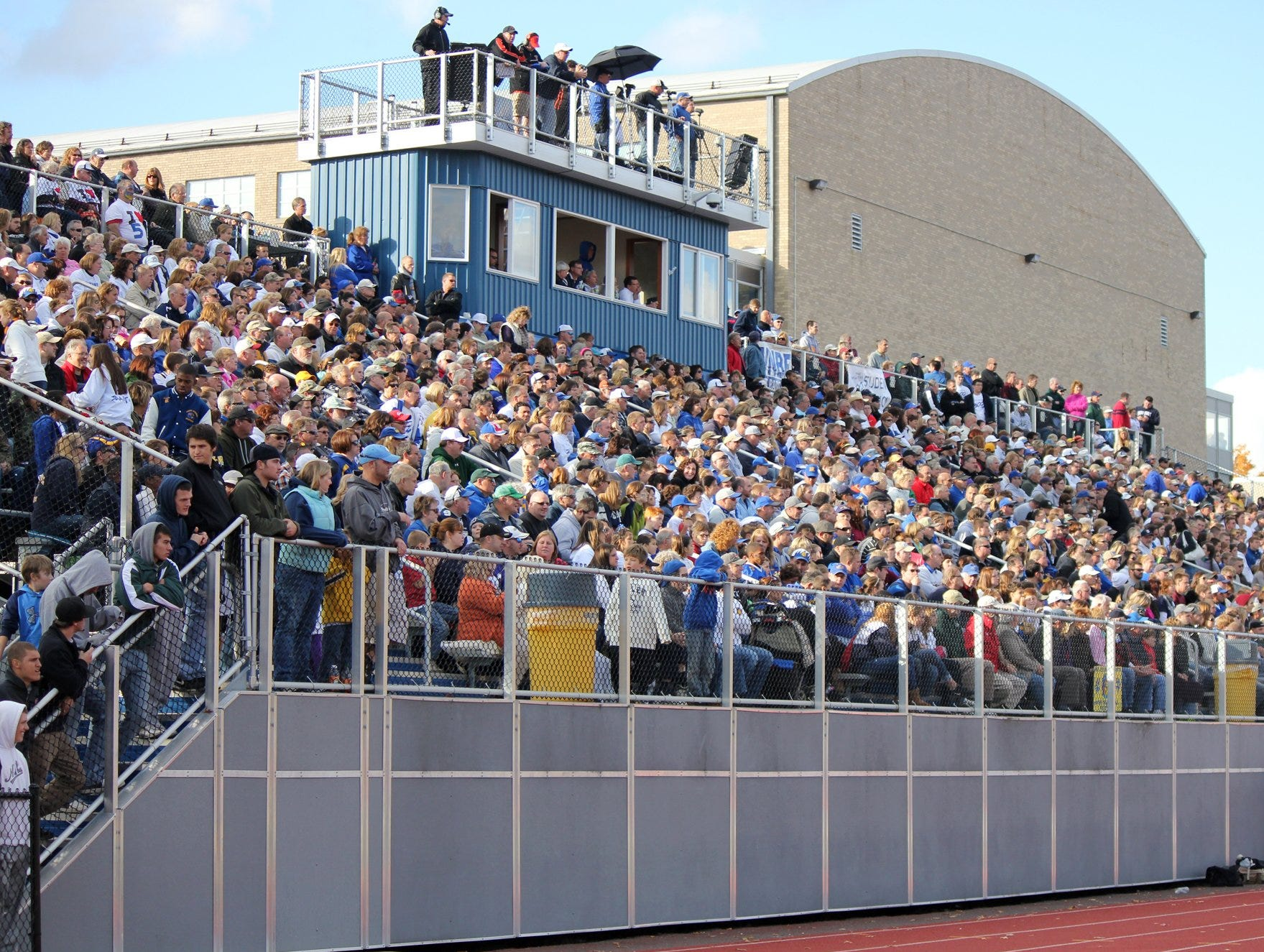 The stands at Spartan Stadium in 2012 are packed with fans during Maine-Endwell's Homecoming game against Union-Endicott. The postgame estimate was that nearly 5,000 were in attendance.