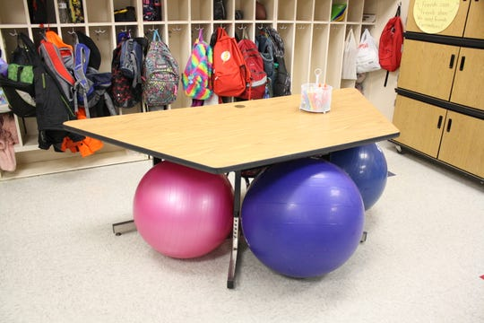 This year, Chenago Forks Elementary School teacher Jessica McBreen implemented yoga balls into her second grade classroom's flexible seating arrangement.
