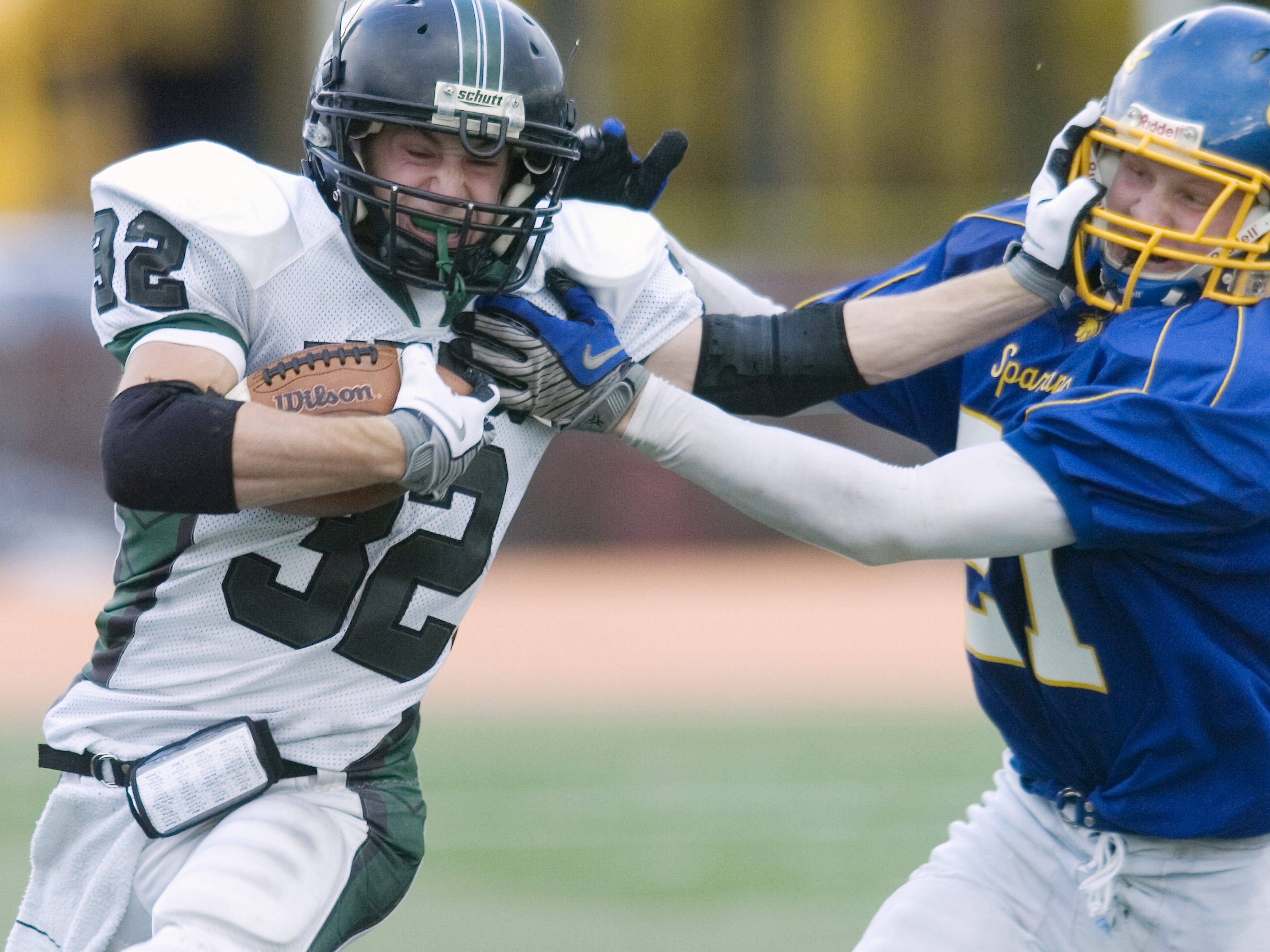 Maine-Endwell's Mitch Tallon, right, and Corning West's Gregory Riff in the third quarter of a 2008 game at Ty Cobb Stadium.