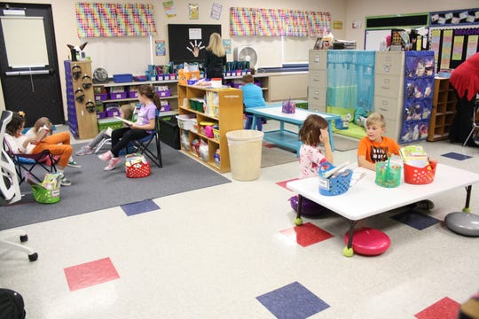 Chenango Forks Elementary School teacher Jessica McBreen has created a flexible seating arrangement in her second-grade classroom.