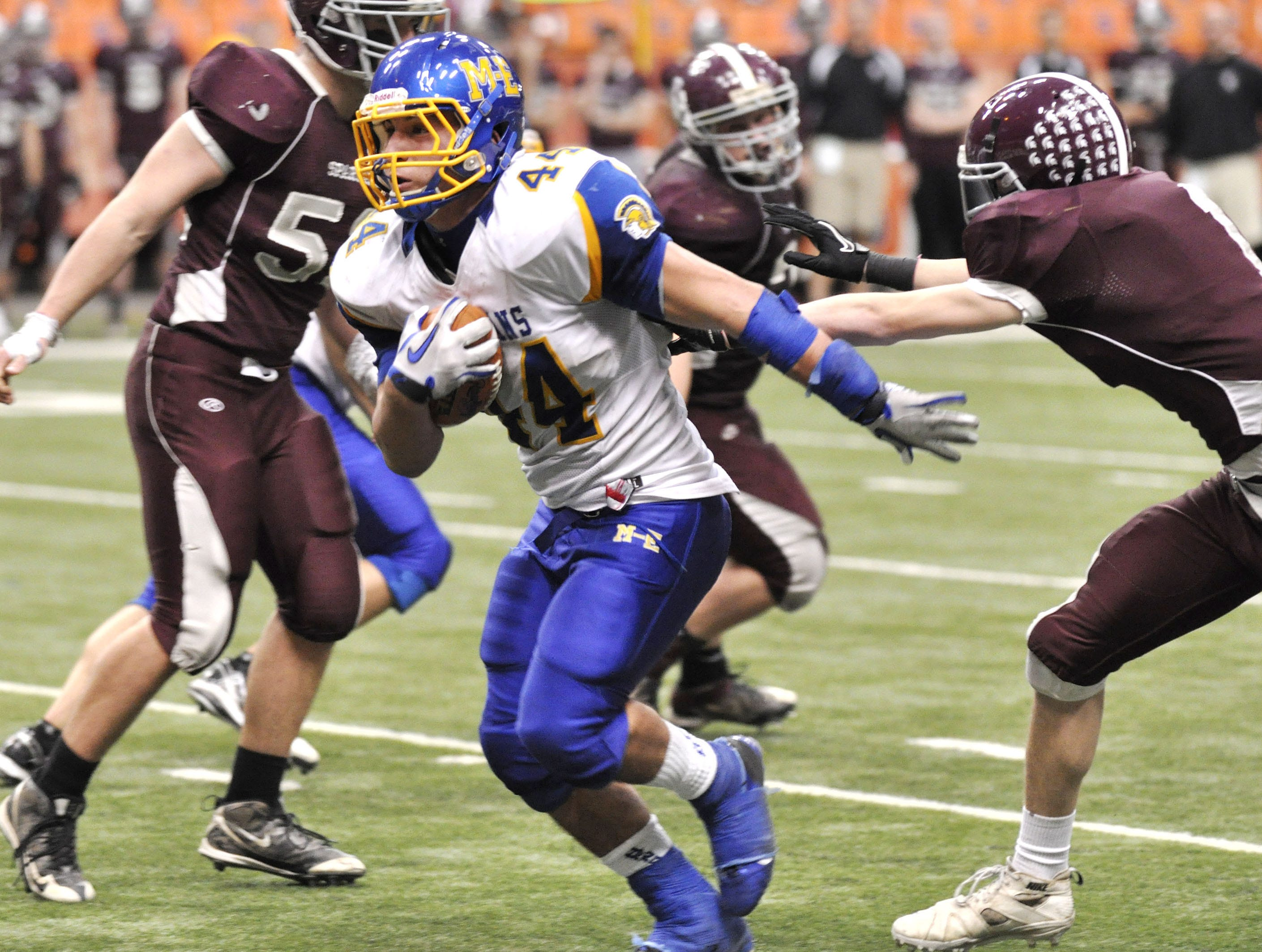 Maine-Endwell's Nick Sorrenti runs for a touchdown during the fourth quarter against Burnt Hills-Ballston Lake in the Class A New York State High School football championship game in Syracuse, N.Y., Friday, Nov. 25, 2011.
