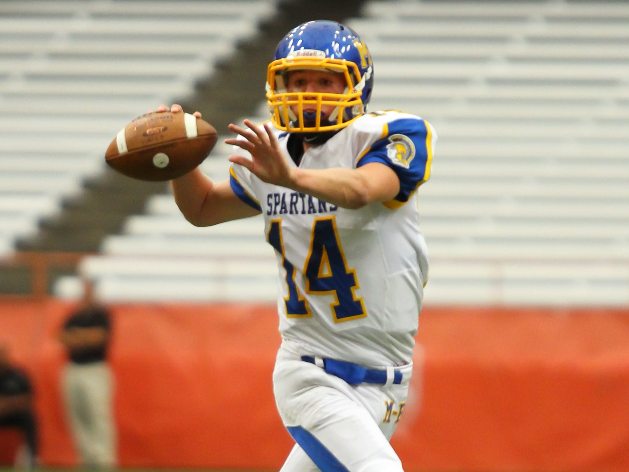 Maine-Endwell's Kyle Balmer replaced starting quarterback Kyle Gallagher, who was sidelined, and kept the Spartans in gear offensively in a 31-7 victory against Nottingham at the Carrier Dome in 2013.
