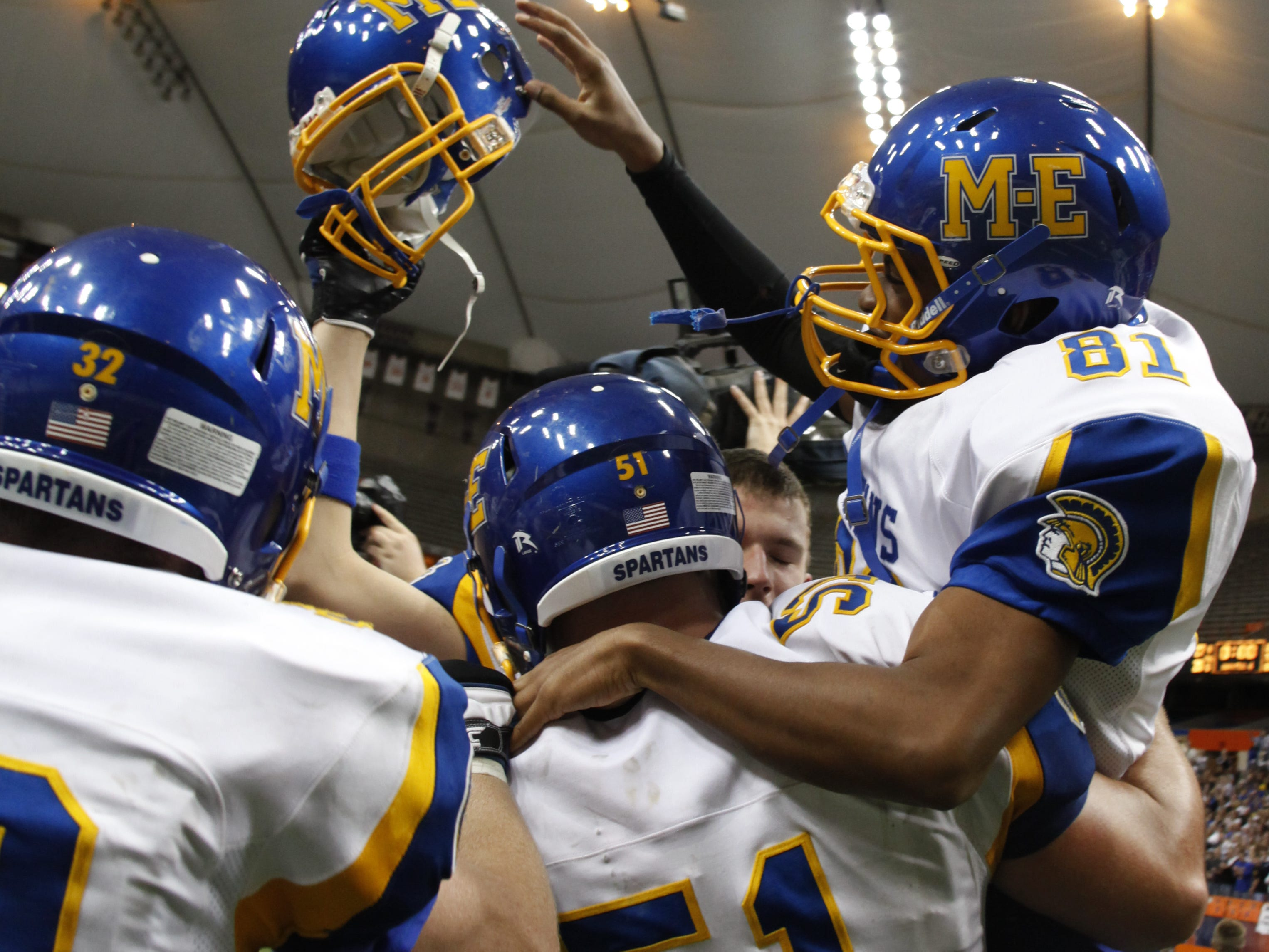 The Maine-Endwell Spartans defeat the Burnt Hills-Ballston Lake Spartans 27-20 at the Class A New York State High School Football Championship held in Syracuse's Carrier Dome.