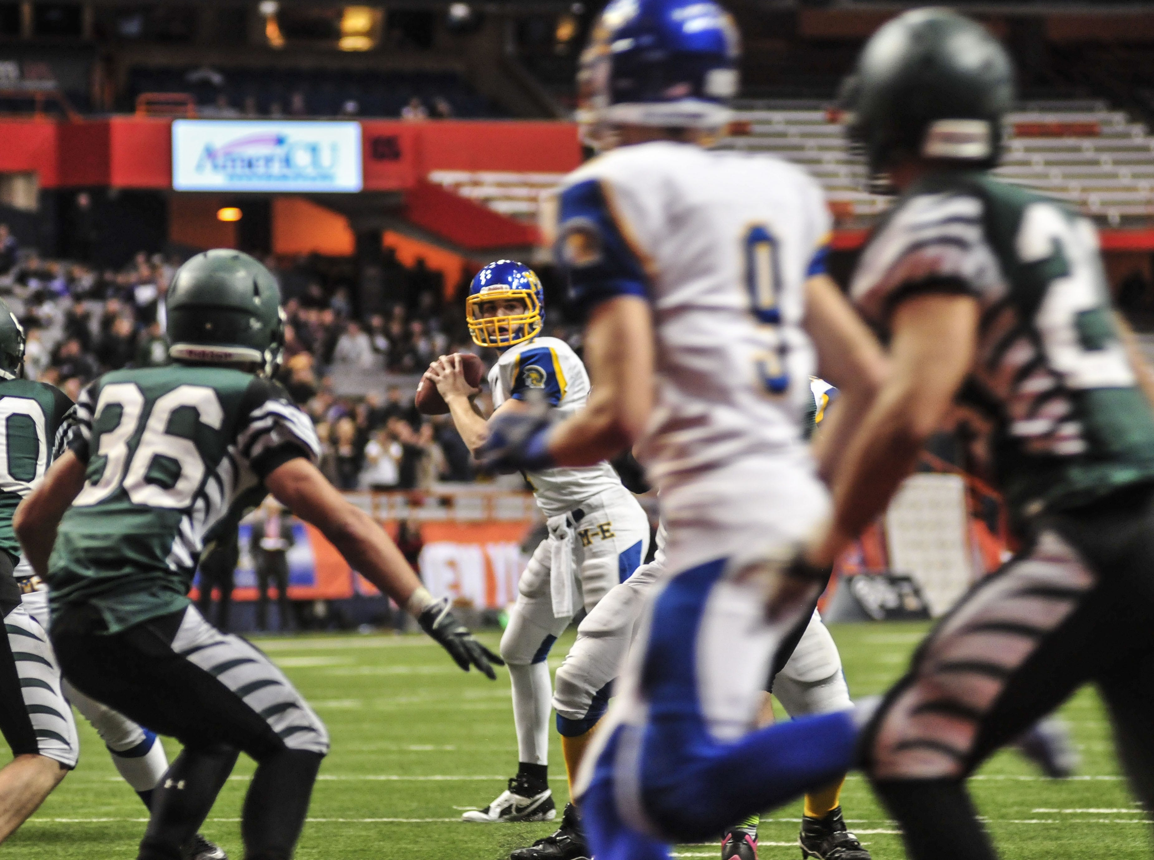 Maine-Endwell's Kyle Gallagher targets Jake Sinicki in the end zone to bring the score to 20-21 against Schalmont Endwell during the 2013 New York State Public High School Athletic Association Football Class B Championship at the Carrier Dome.