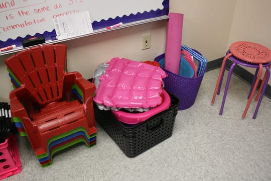 Chenango Forks Elementary School teacher Jessica McBreen gives her students numerous options for seating as a part of the classroom's flexible seating arrangement.