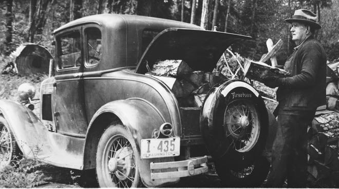 Frank E. Libby loads firewood in his Model A Ford Coupe in 1936. He arrived in Seabeck from Maine in 1876 and become a logger at age 21. After years of logging, he worked in the Navy Yard. To see more photos from the Kitsap County Historical Society Museum archives, visit facebook.com/kitsaphistory, kitsapmuseum.org, or stop by the museum at 280 Fourth St. in Bremerton. Call 360-479-6226 for information