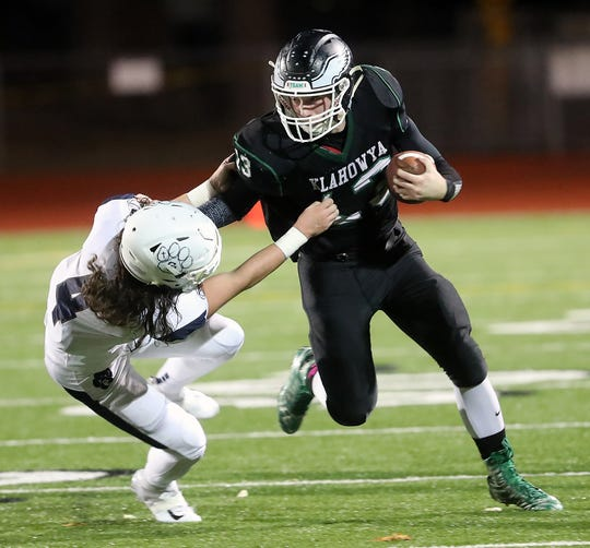 Klahowya senior receiver Drew Dickson and the Eagles finished second in the Olympic/Nisqually 1A League this fall.