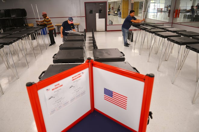 Workers from the Brevard County Supervisor of Elections office have been setting up early voting sites all week, getting ready for early voting, which begins on Saturday and runs for eight days. On Thursday afternoon, workers were at Tony Rosa Palm Bay Community Center on Port Malabar Boulevard setting up voting booths for Saturday.