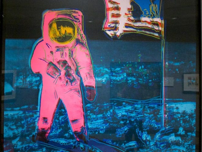 Part of the NASA Art Program, Andy Warhol's 1987 screenprint Moonwalk 1 depicts Neil Armstrong's photograph of Buzz Aldrin walking on the moon during the Apollo 11 mission.