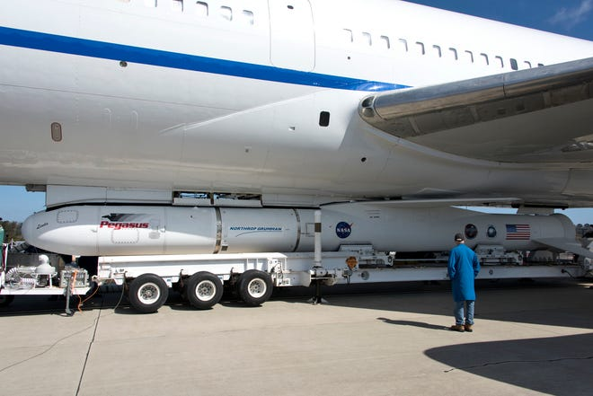 Northrop Grumman's Pegasus XL rocket, containing NASA's Ionospheric Connection Explorer (ICON), is attached beneath the company's L-1011 Stargazer aircraft at the hot pad at Vandenberg Air Force Base in California, on Oct. 14, 2018. The Stargazer will take off from the hot pad and travel to Cape Canaveral Air Force Station in Florida. The Pegasus XL rocket will launch ICON from the Skid Strip at the Cape. ICON will study the frontier of space - the dynamic zone high in Earth's atmosphere where terrestrial weather from below meets space weather above. The explorer will help determine the physics of Earth's space environment and pave the way for mitigating its effects on our technology and communications systems.