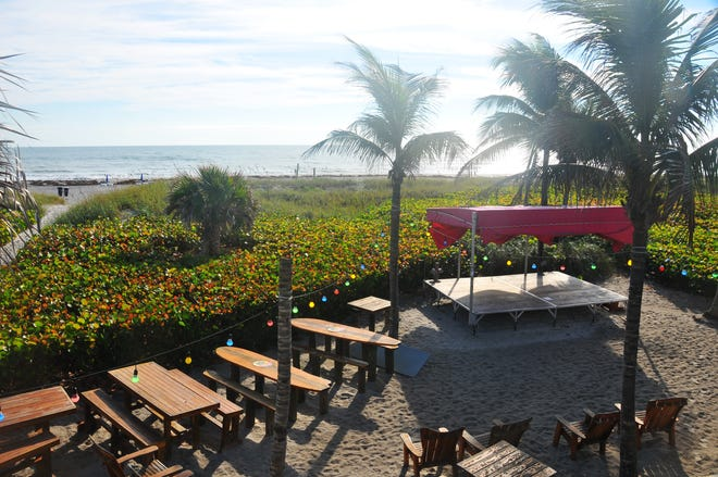 The beach area behind the International Palms Resort in Cocoa Beach was almost deserted on Friday morning. The hotel had a number oflast-minute cancellations last weekend related to red tide concerns.