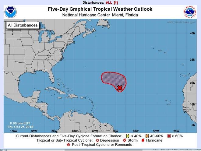 Area of disturbance in Atlantic as of 8 p.m. Thursday.