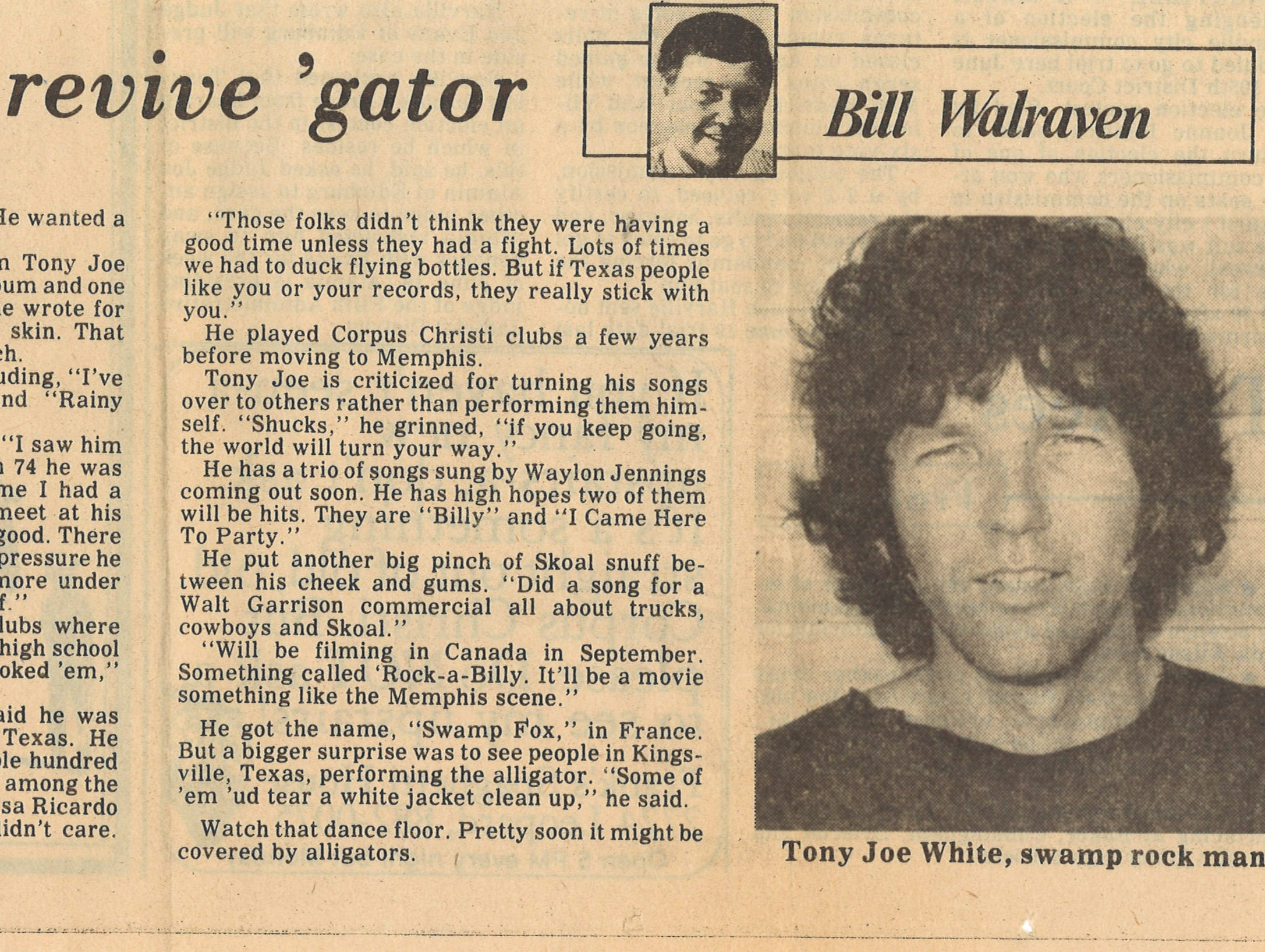 Article on Tony Joe White by Caller-Times columnist Bill Walraven from June 6, 1979.