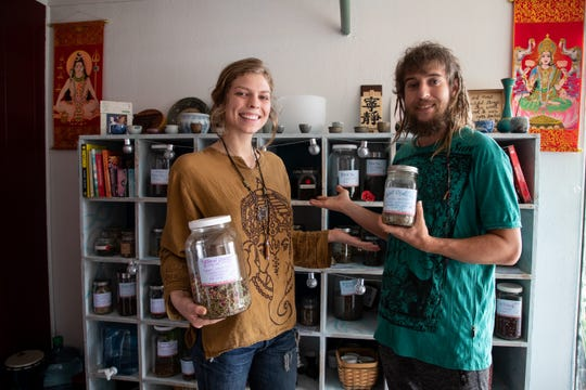 Taylor Rose and Jah Hendo are owners of CommuniTea Room, a leaf tea and organic herbs store in The Water Street Village at 505 S. Water St.