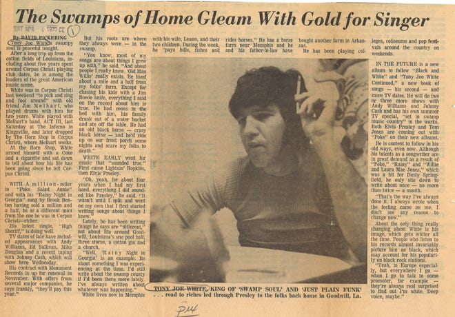Article on swamp rock muscian Tony Joe White from April 4, 1970 Caller-Times.