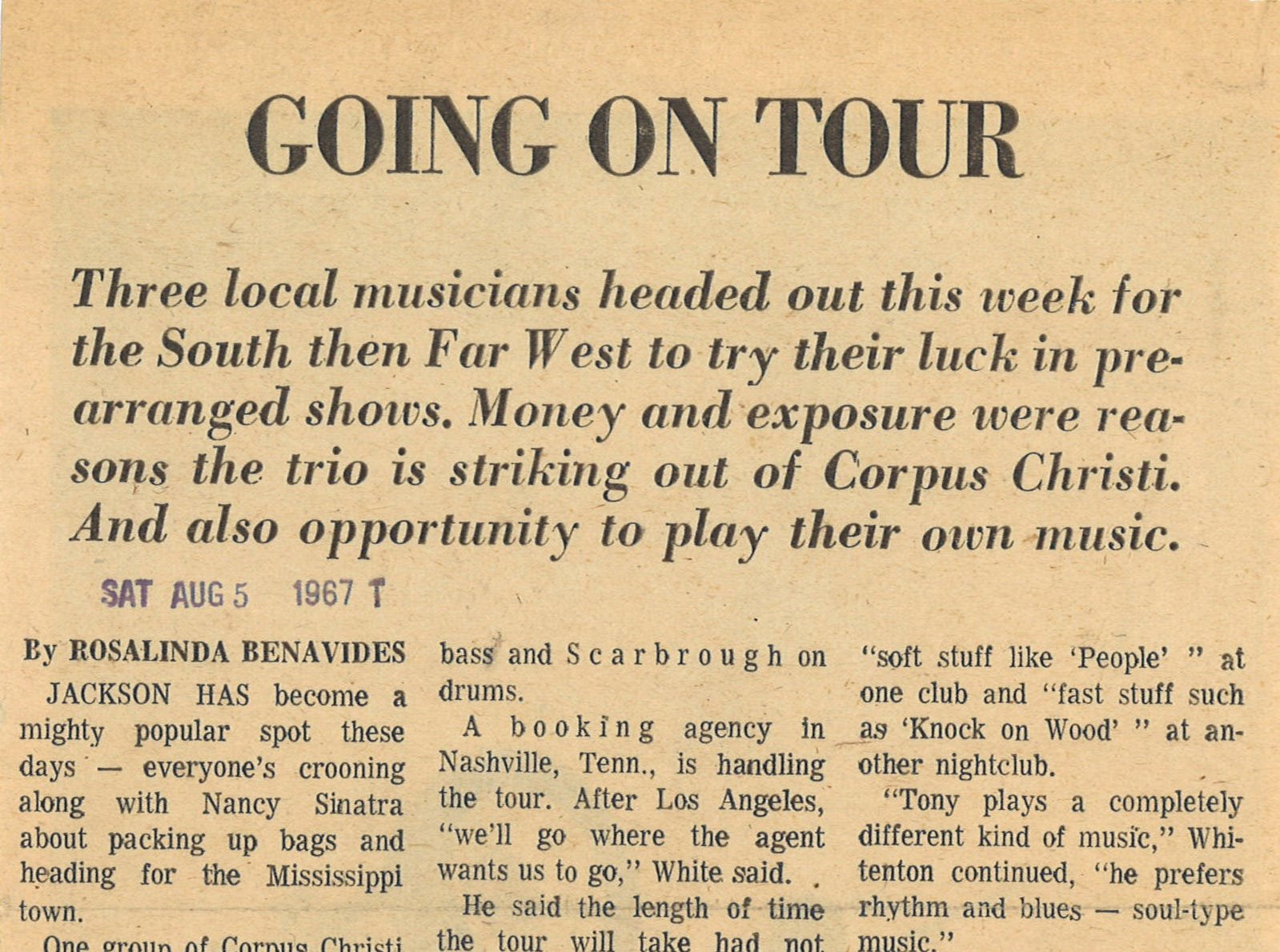Article on swamp rock musician Tony Joe White from the Aug. 5, 1967 Caller-Times. White lived in Corpus Christi with his wife and kids for several years in the late 1960s.