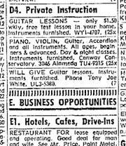 Tony Joe White taught guitar lessons between gigs when he lived in Corpus Christi in the late 1960s. This classified ad is from the Oct. 30, 1967 Caller-Times.