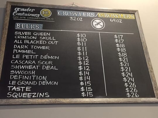 The crowler/growler lineup at Bonesaw Brewing Company in Glassboro.
