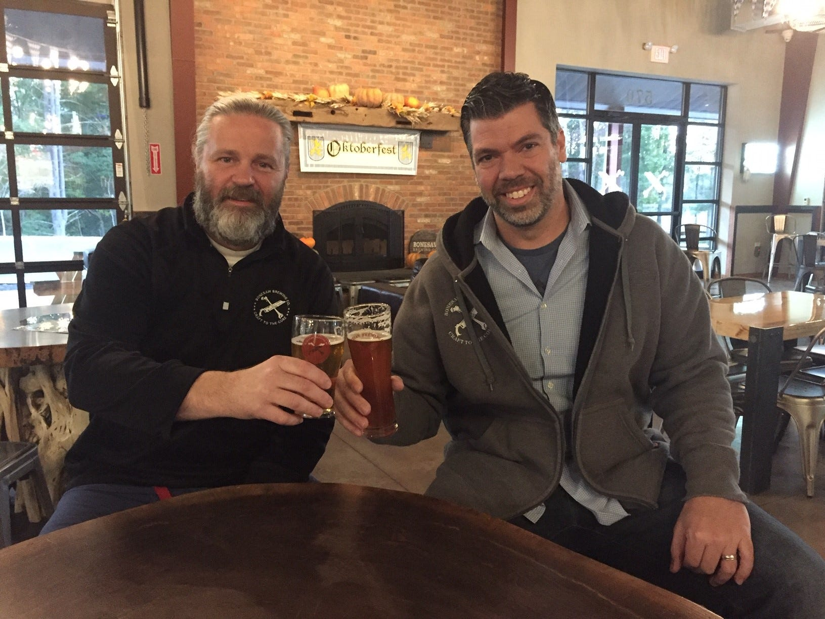 """Bonesaw Brewing Company founders/co-owners Rich """"The Bonemaster'' DiVerniero, left, and David Doe."""