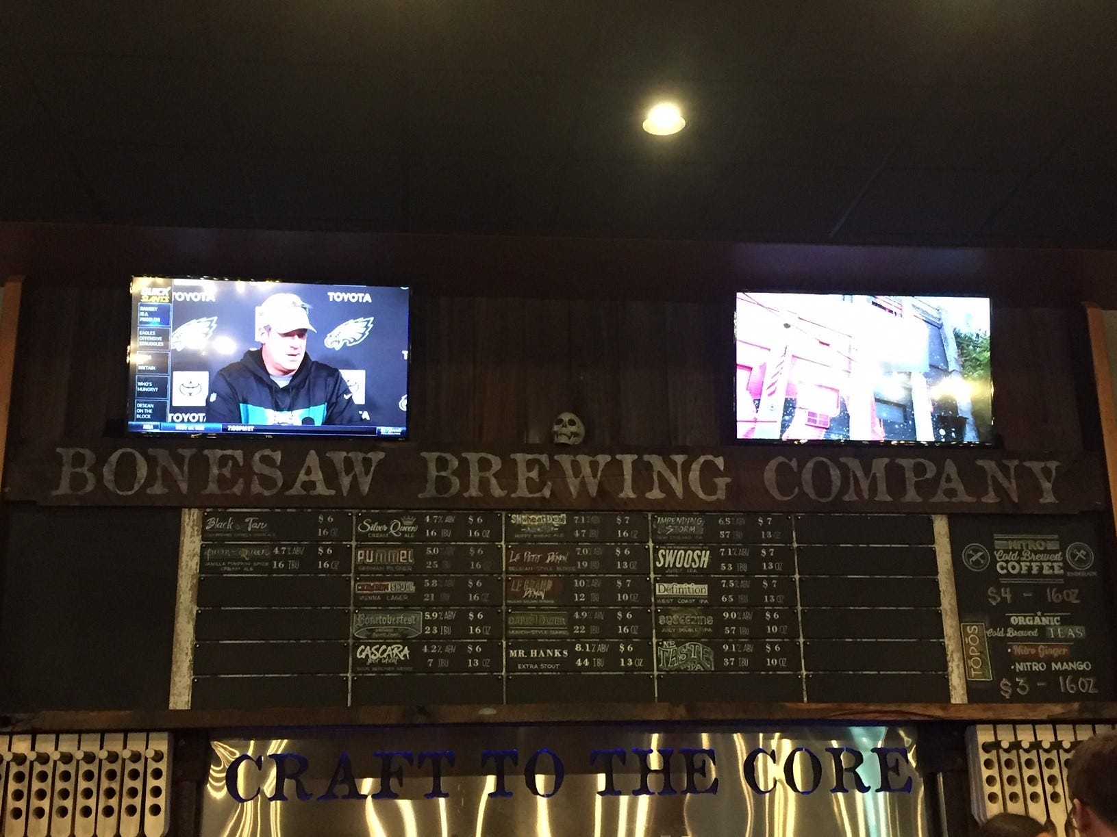 The beer menu at Bonesaw Brewing Company. The brewery boasts a 30-tap system.