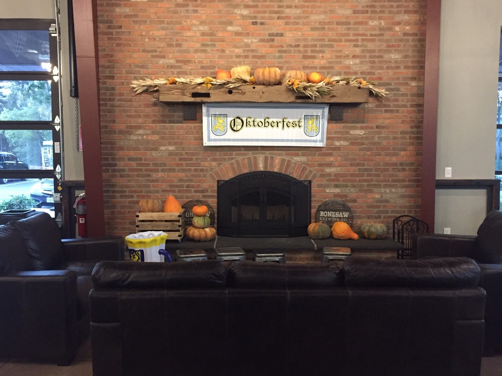 Chill in the air? Cozy up the fireplace at Bonesaw Brewing Company.