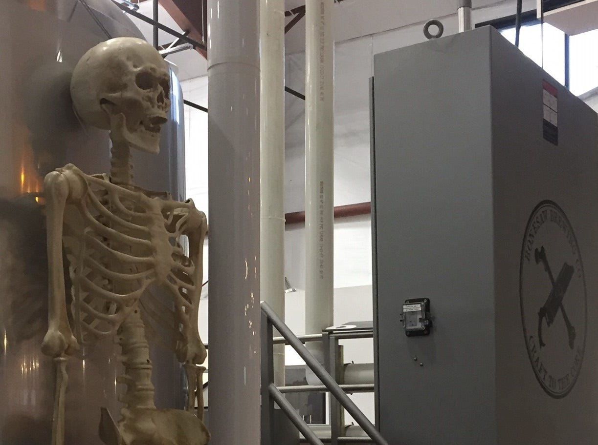A skeleton likes to hang around the brewhouse at Bonesaw Brewing Company in Glassboro.