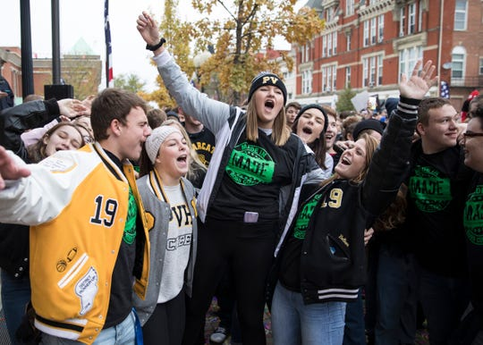 Paint Valley students sing and chant during the 2018 My Attitude Determines Everything (M.A.D.E.) anti-drug rally on Friday, October 26, 2018, in Chillicothe, Ohio.