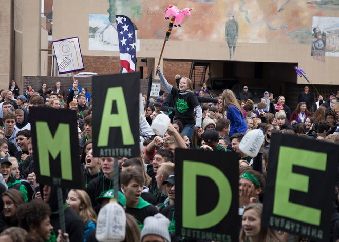 """Students from various local schools marched in an anti-drug, pep-rally styled event from the Donald M. Smith Memorial Pool, in Yoctangee Park, to the Ross County Courthouse for the 2018 My Attitude Determines Everything (M.A.D.E.) anti-drug rally on Friday, October 26, 2018, in Chillicothe, Ohio. Students lead cheers, talked about how drugs personally affected them, and sang along to various songs including John Denver's """"Take Me Home, Country Roads."""""""