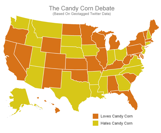 Here is a chart based on Twitter posts about who likes and dislikes candy corn.