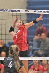 St. Henry senior Maria Tobergte goes for a spike during St. Henry's 3-0 sweep of North Oldham in the first round of the KHSAA state volleyball tournament Oct. 26, 2018 at Valley High School, Louisville, KY.