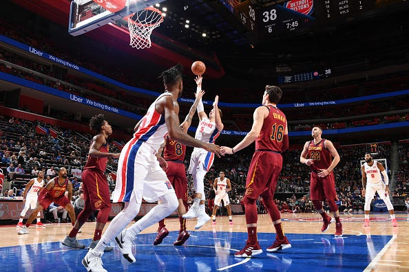 Luke Kennard #5 of the Detroit Pistons shoots the ball against the Cleveland Cavaliers on October 25, 2018 at Little Caesars Arena in Detroit, Michigan.